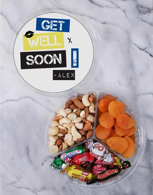 Personalised Get Well Fruit & Nut Tub