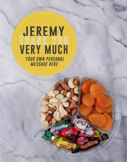 Personalised Thank You Fruit & Nut Tub