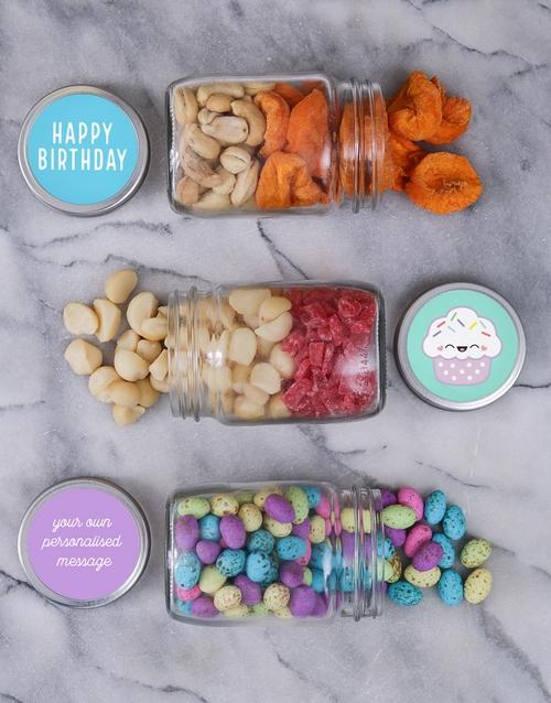 Personalised Cupcake Fruit and Nut Jar Trio