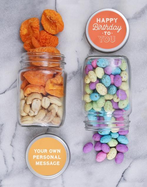 Personalised Happy Bday Nut Jar Set