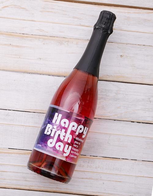 Rainbow Birthday Personalised Wine Rose