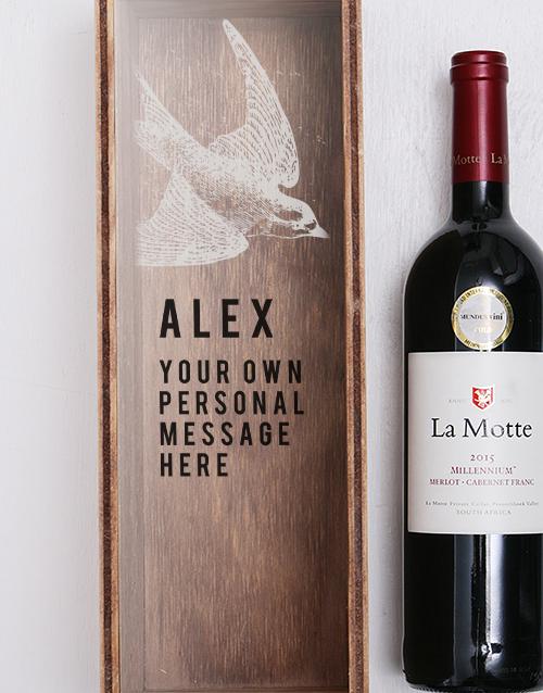 Swallow Printed Personalised Wine Crate