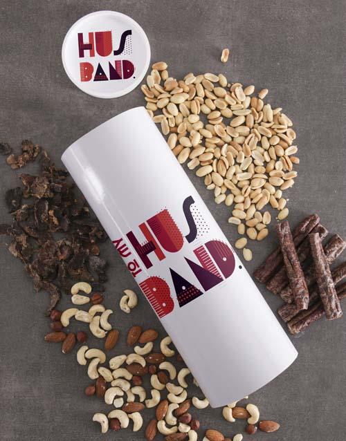 Personalised Husband Biltong and Nut Tube