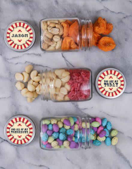 Personalised Red Heart Fruit Jar Trio