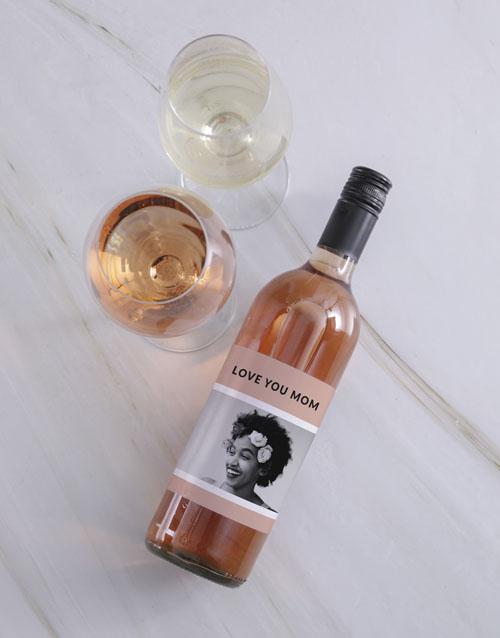 Vintage Pink Photo Personalised Wine