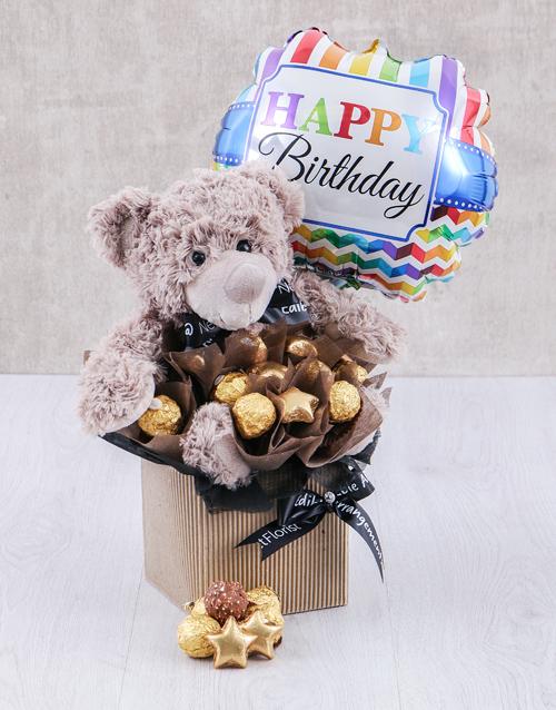 Choc Teddy Birthday Edible Arrangement