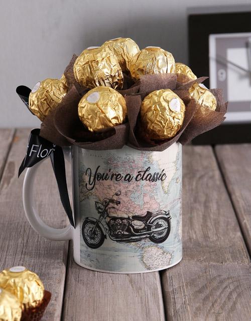 Motorbike & Ferrero Arrangement in Mug