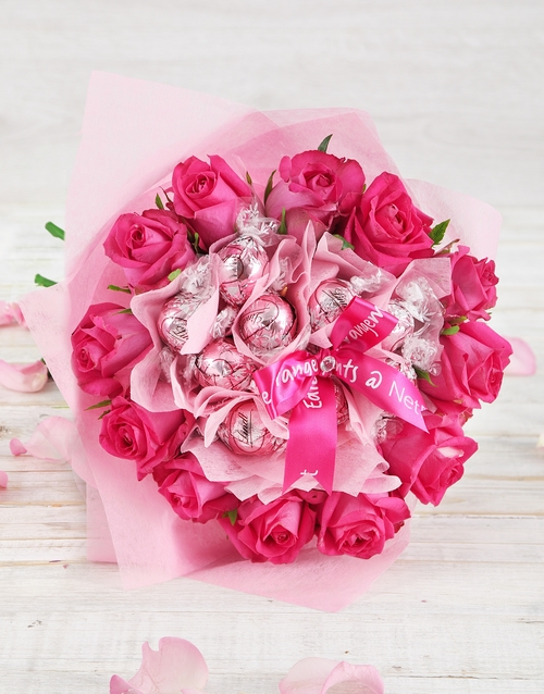 birthday Pink Rose and Lindt Bouquet