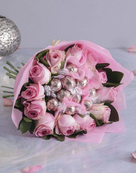 birthday Pink Rosy Chocolate Arrangement