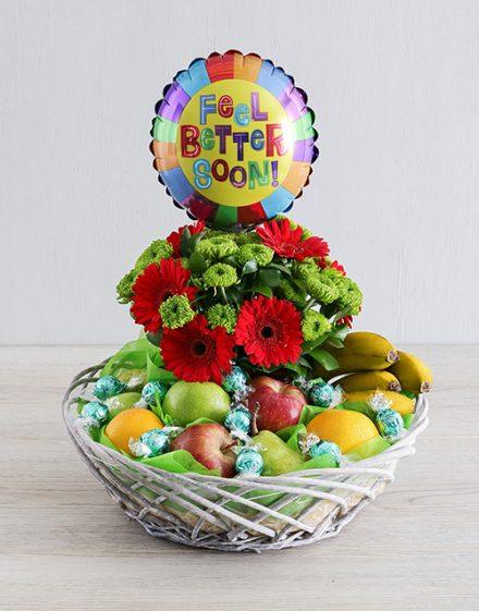 Feel Better Gerbera and Fruit Basket
