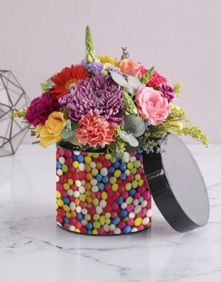 Sweetie Florals in Black Hatbox