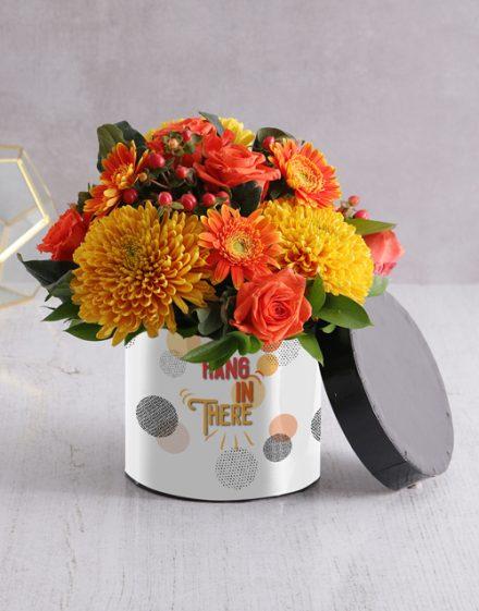 Hang in There Flower Arrangement in Hatbox