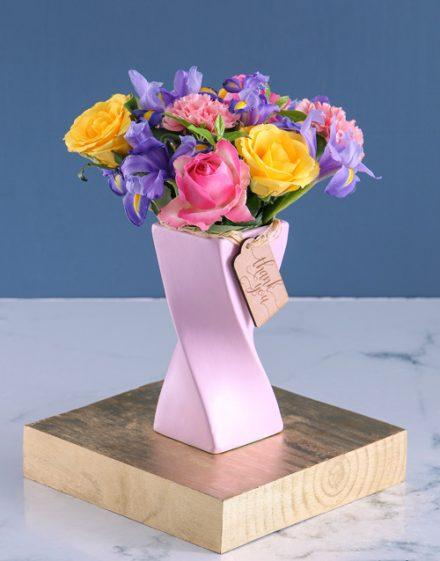 Pastel Blooms in Pink Twisty Vase