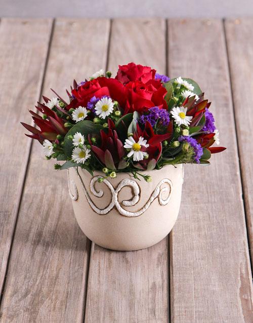 Red Rose Assortment in Ceramic Vase