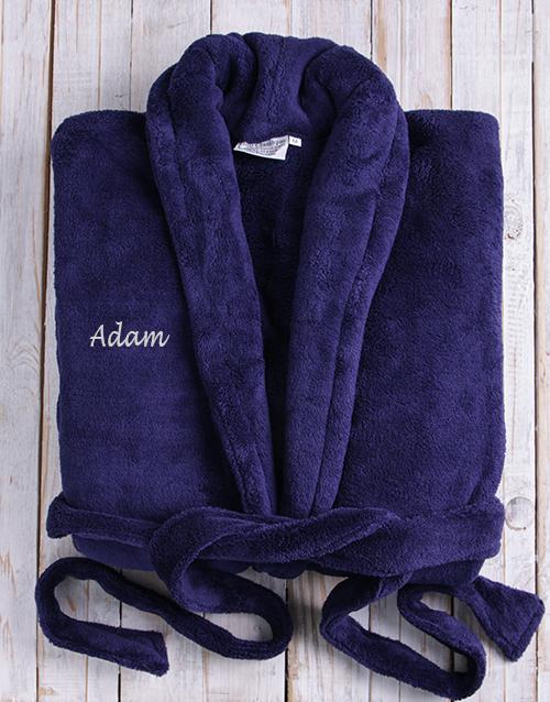 Personalised Dark Blue Fleece Gown