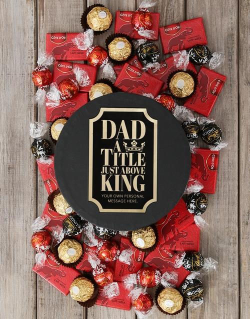 King Dad Personalised  Choc Hat Box