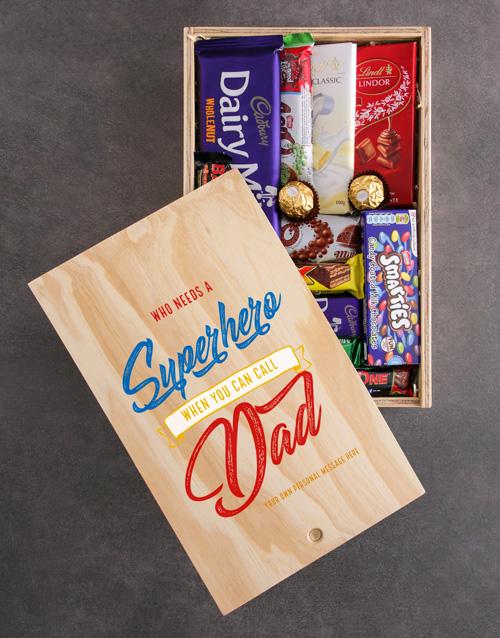 Superhero Personalised Chocolate Crate For Dad