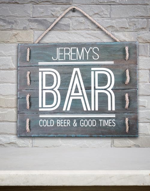 Personalised Bar Good Times Hanging Panel Art
