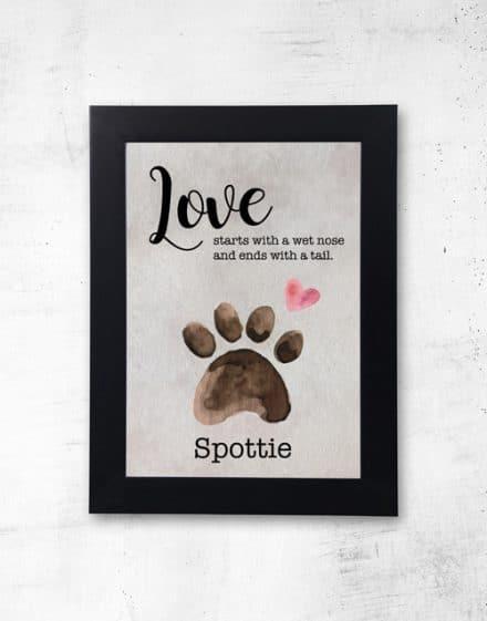 Personalised Love Paw Black Frame