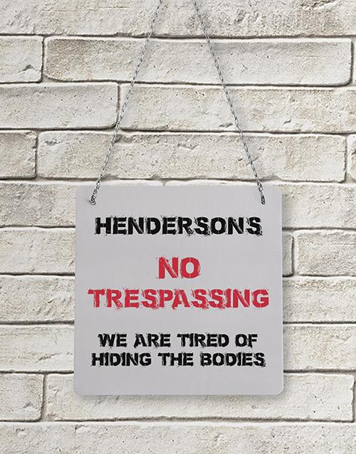 Personalised Trespassing Metal Sign