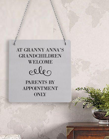 Personalised Grandchildren Welcome Metal Sign