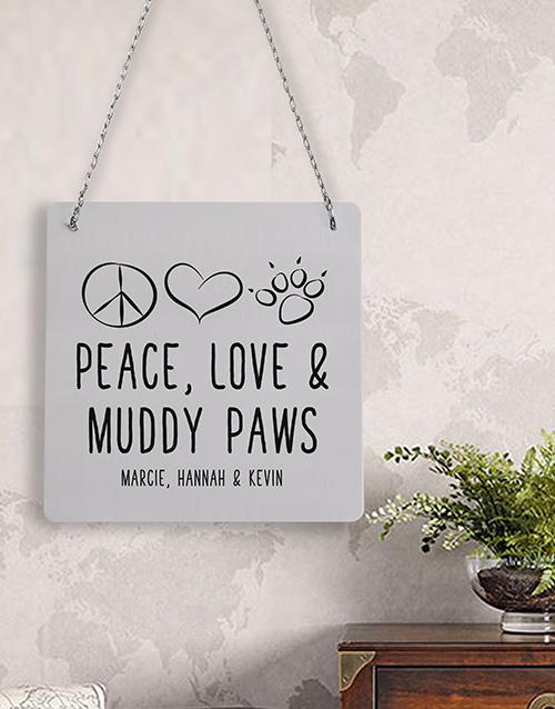 Personalised Muddy Paws Metal Sign
