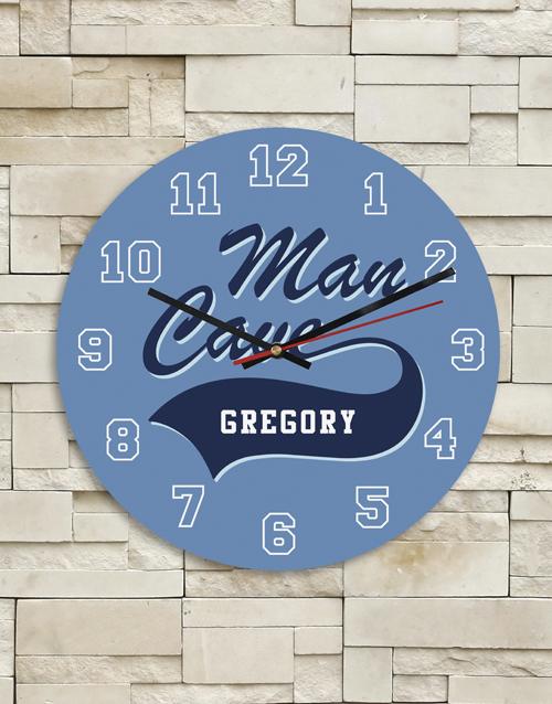 Personalised Blue Man Cave Clock