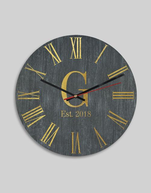 Personalised Roman Monogram Date And Clock
