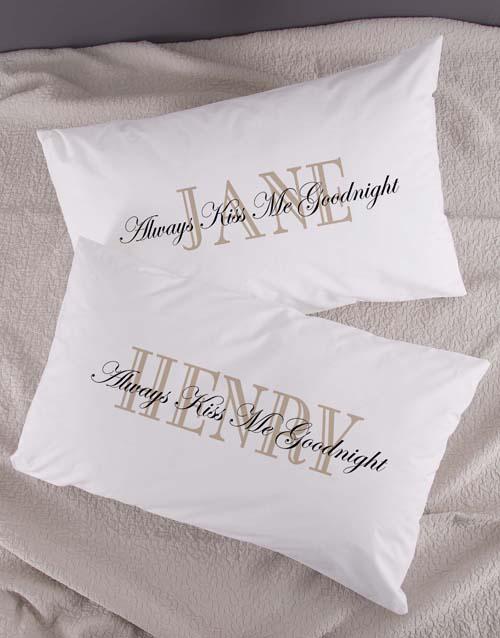 Personalised Kiss Me Pillowcase Set