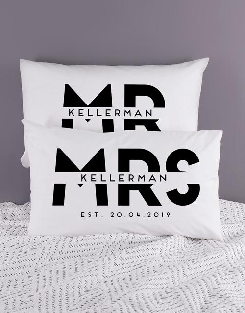 Personalised Block Mr and Mrs Pillowcase Set
