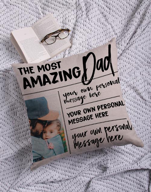Personalised Amazing Dad Photo Scatter Cushion