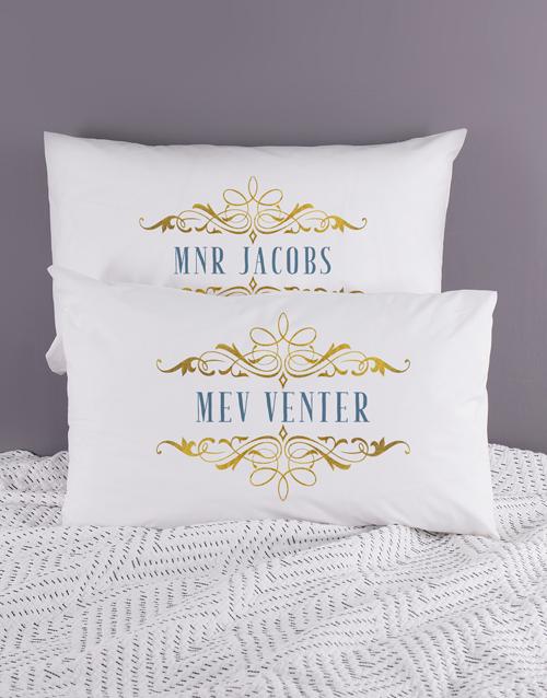 Personalised Mnr & Mev Pillowcase Set