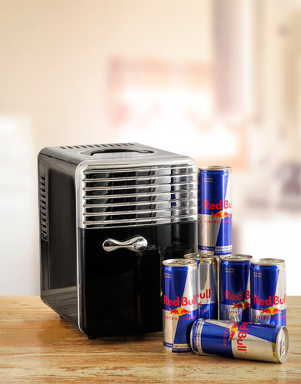 Mini Desk Fridge with Red Bull