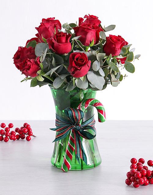 Red Candy Cane Rose Vase