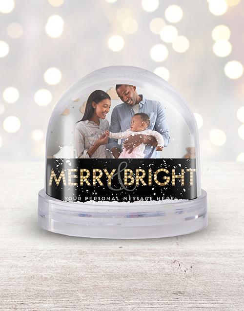 Personalised Merry & Bright Photo Snow Globe