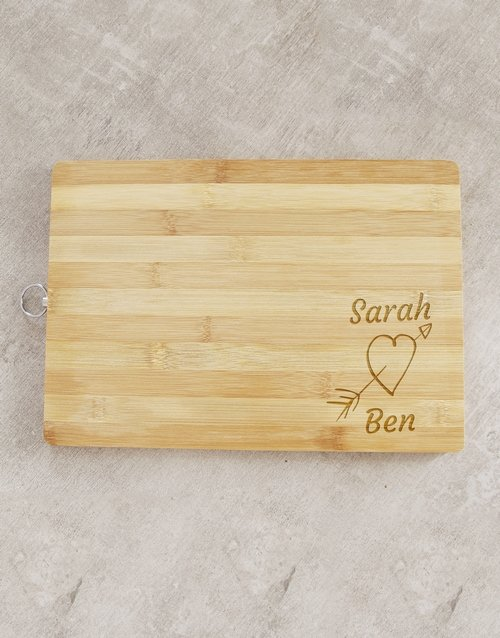 Cupid Heart Personalised Chopping Board