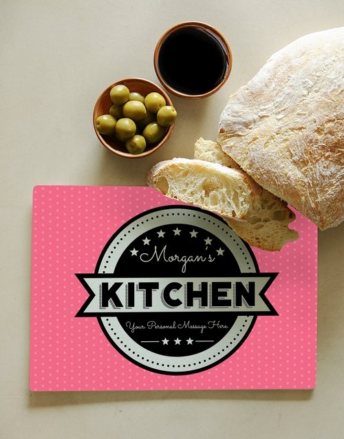 Kitchen Pink Personalised Glass Chopping Board