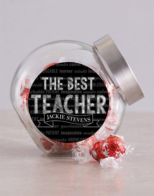 Personalized Chalk Best Teacher Candy Jar