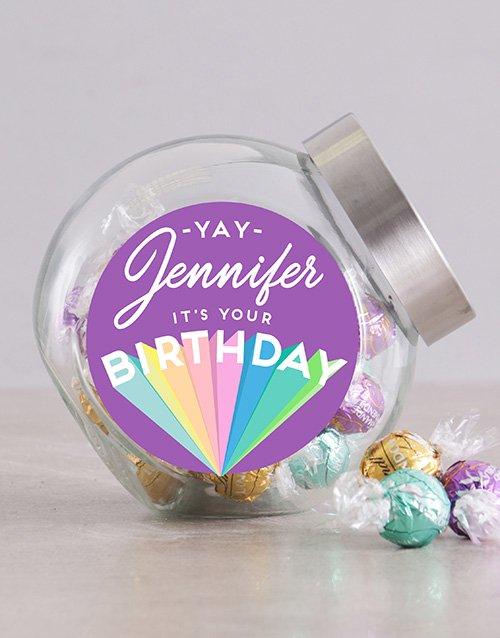 Personalized Rainbow Birthday Candy Jar