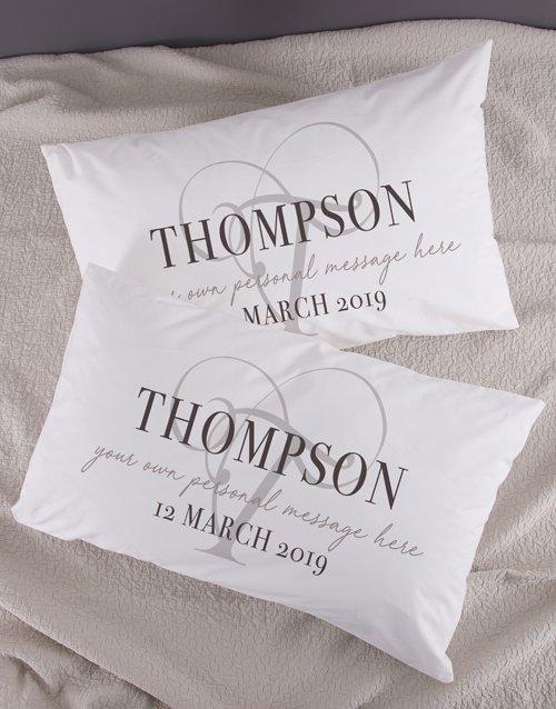 Personalised Classic Initial Pillowcase Set