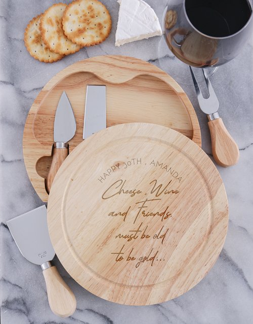 To Be Gold Personalised Cheese Board With Knives