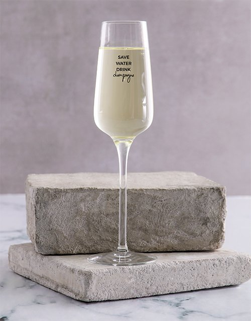 Personalised Save Water Champagne Glass Single
