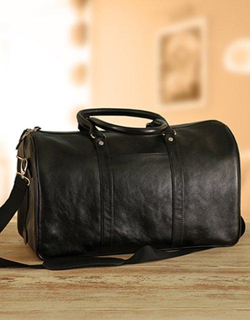 Busby Black Leather Duffel Bag