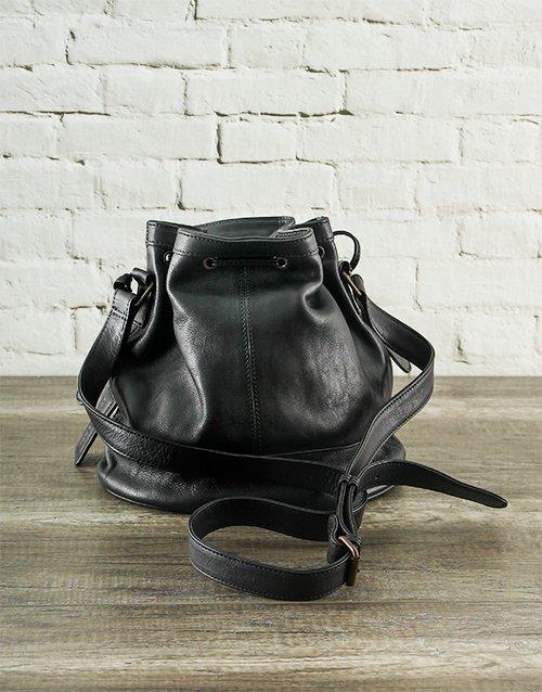 Jinger Jack Milan Black Leather Bucketbag