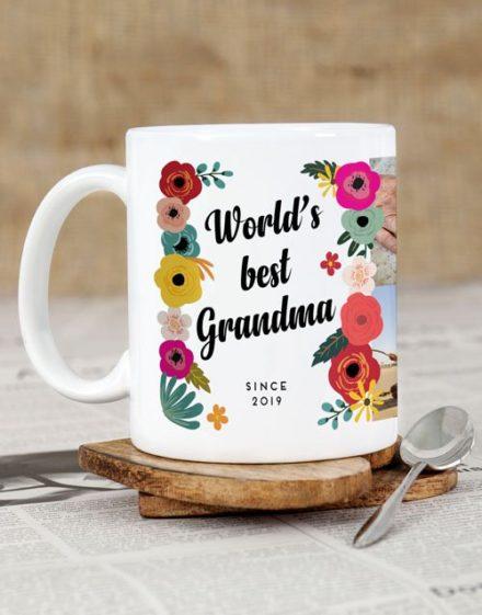 Best Grandma Floral Personalised Mug