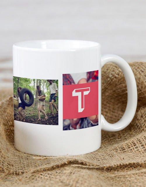 Red Monogram Photo Personalised Mug