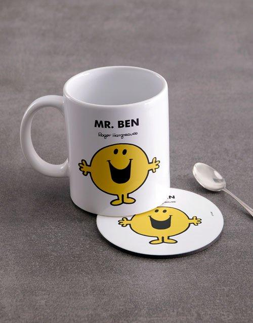 Mister Happy Personalised Mug And Coaster