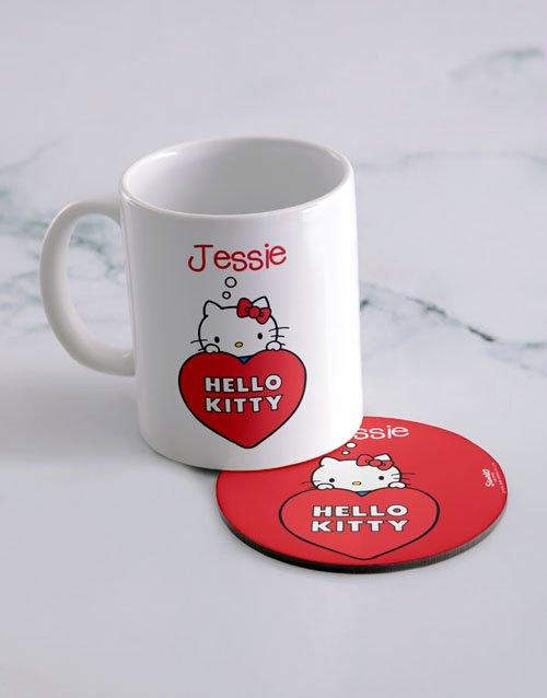 Hello Kitty Love Personalised Mug And Coaster