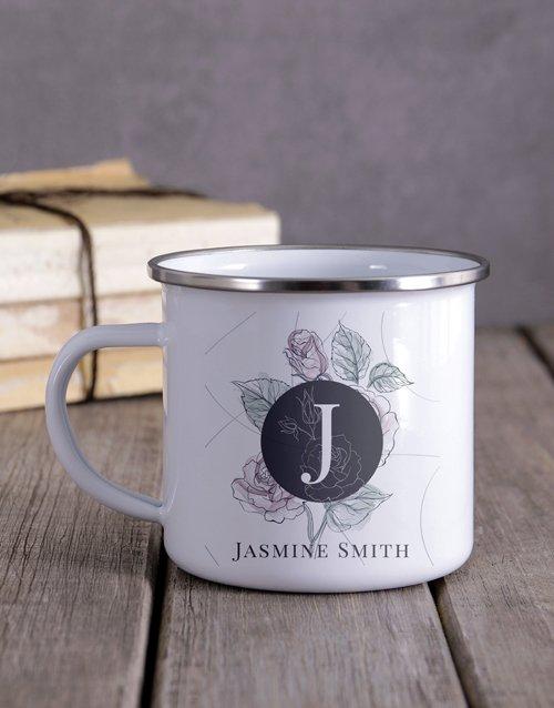 Floral Monogram Camper Personalised Mug