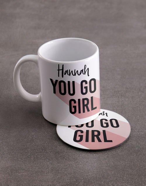 You Go Girl Personalised Mug And Coaster Set